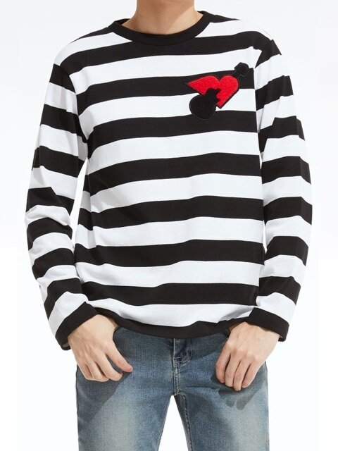 Stripe Artwork Long-Sleeve T-Shirt_BK (PWOE3RLRC4M0C1)