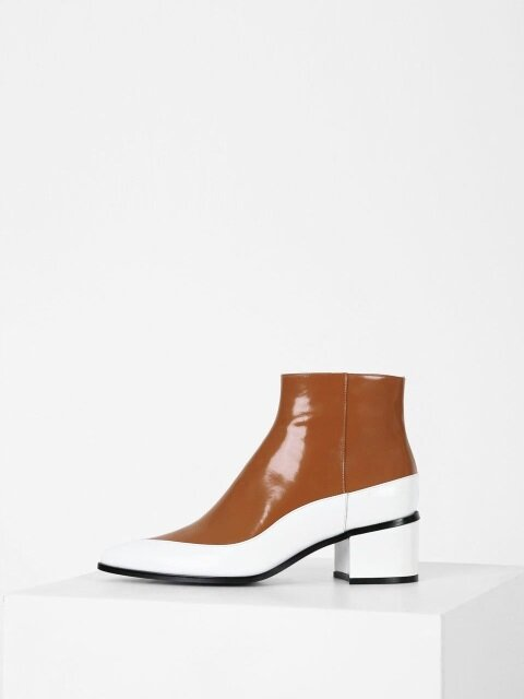 TWO-COLOR ANKLE BOOTS - WHITE + BROWN