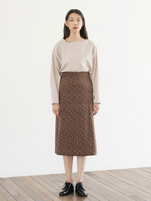 Dot A-line Skirt - Brown
