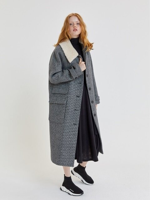18' FALL_Ecru Collar Long Felted Wool Coat