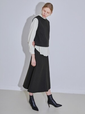 WOOL LONG SKIRT - DEEP KHAKI