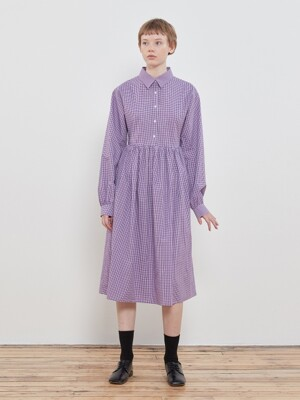 Pleated Shirt Onepiece [Purple]