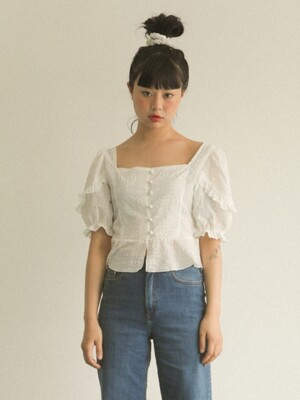 SMOCK CHECK RUFFLE BLOUSE _WHITE