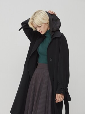 Hooded Belted Back Pleated Coat Black