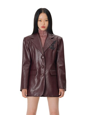 C WAPPEN LEATHER JACKET_BURGUNDY