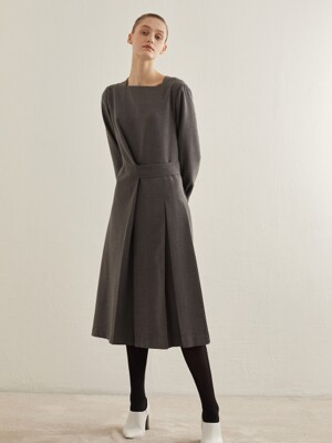 BUTTON WRAP DRESS_GREY