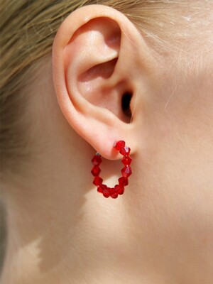 Red Crystal Ring Earring