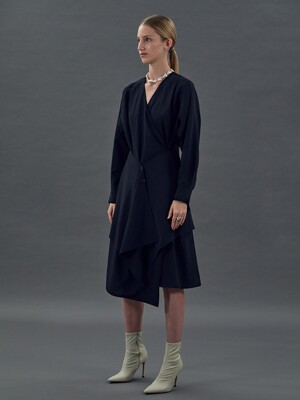 [EXCLUSIVE] DOUBLE LAYER WRAP DRESS (NAVY)