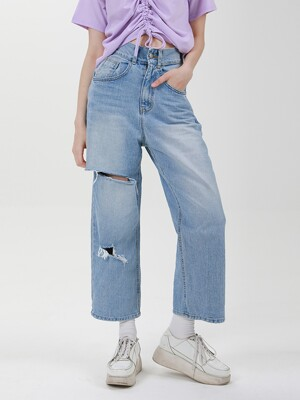 HIGH WAIST DEMAGE WIDE DENIM PANTS C518PT006-LB
