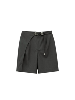 SCALA BELTED BERMUDA SHORTS apa395w(CHARCOAL)