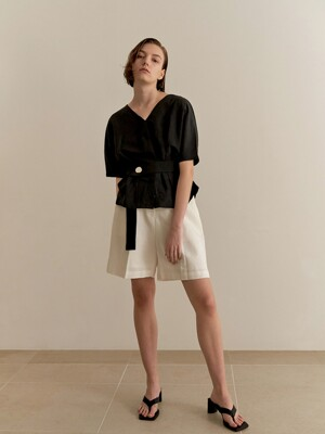 Reversible linen blouse - black