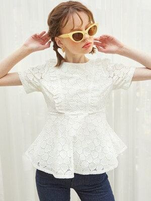 Lace Ruffle Blouse_ White