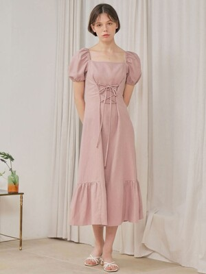 LINEN LACE UP ONE-PIECE_PINK