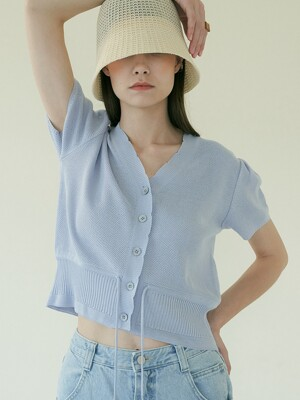 comos'379 v-neck ribbon point cardigan (light blue)