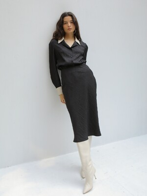 20FW WRINKLE BIAS SKIRT/BLACK