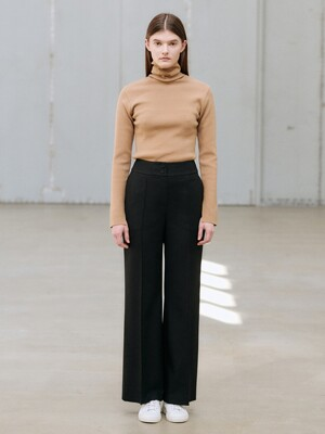 20WN pin-tuck wide pants [BK]
