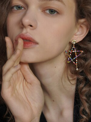 rainbow star earring