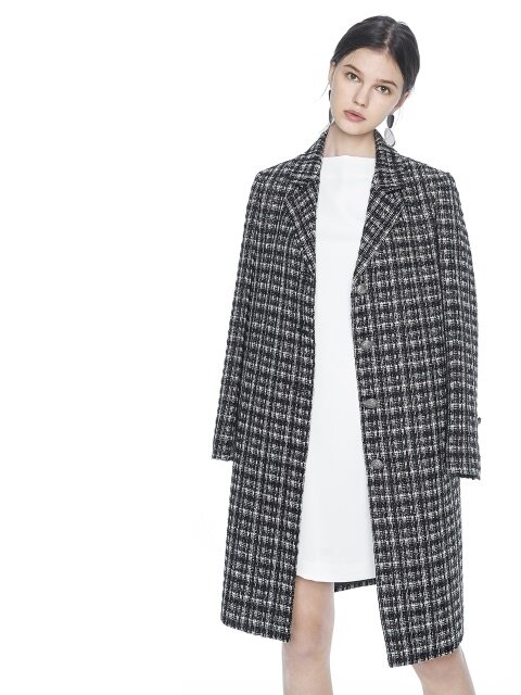 TWEED SINGLE HALF COAT. IVORY / BLACK