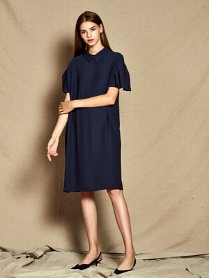 Collar Frill Dress_ Navy