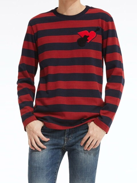 Stripe Artwork Long-Sleeve T-Shirt_RD (PWOE3RLRC4M0R1)