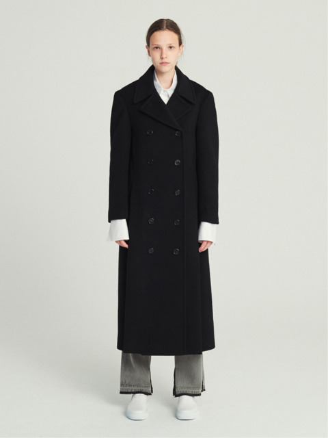 DOUBLE BREASTED WOOL LONG COAT (BLACK)