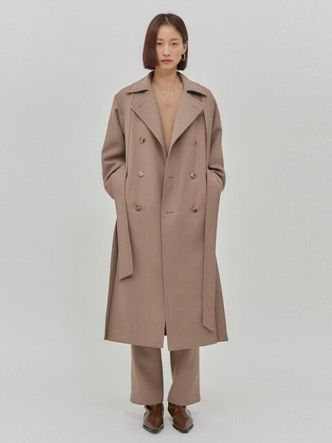 Angela Wool Double Trench Coat Beige