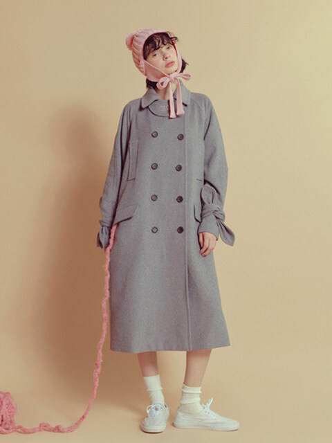 *HAND MADE* RIBBON DOUBLE WOOL COAT_grey