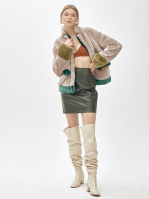 ANTHRO SHINE mixed color short coat