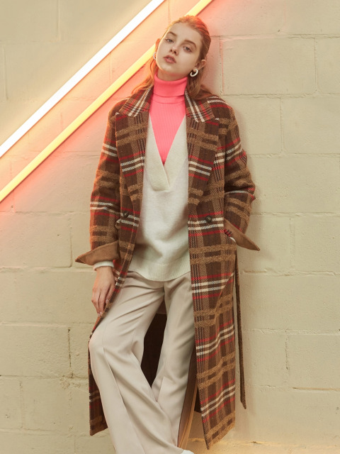 multi color check long coat
