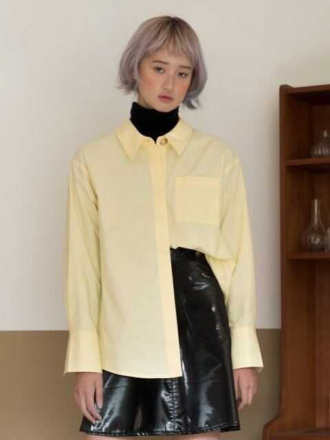 POINT COLLAR BUTTON SHIRTS_YELLOW