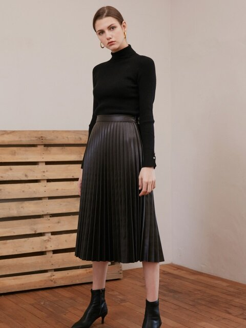 ACCORDION MIDI SKIRT_DARK BROWN