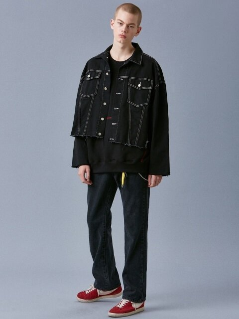 V635 STITCH OVERSIZE DENIM JACKET_BLACK