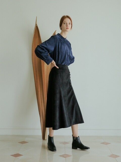 CORDUROY FLARE SKIRT BLACK