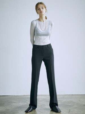 [Drama Signature] Slim Bootcut Trousers_BLACK