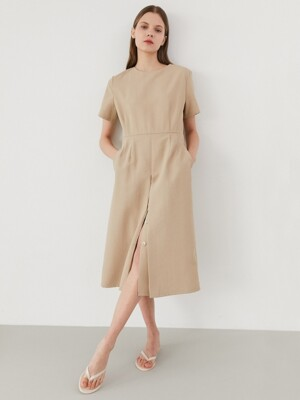 button slit dress-beige