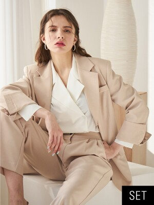 [set] TWO BUTTON JACKET BEIGE + TWO TUCK PANTS BEIGE
