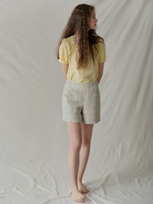 High-rise tweed short