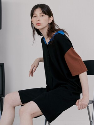 R LOOSE FIT COLLAR KNIT DRESS