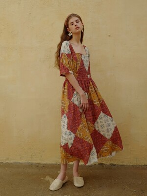 Retro patchwork dress_Brick orange