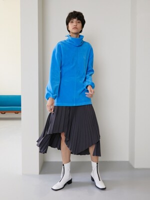 UNBALANCED PLEATED SKIRT [GRAY]