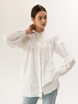 19FW GATHERED-YORK SHIRT (WHITE)