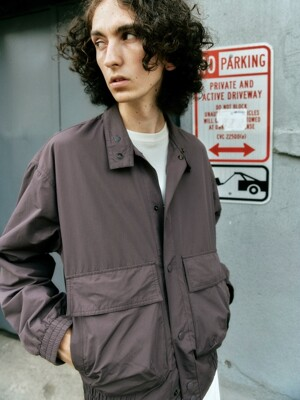 Shirring Blouson Jacket Dark Purple