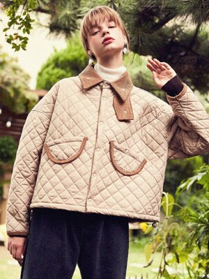 Beige Quilted Jacket with unbalanced Pocket