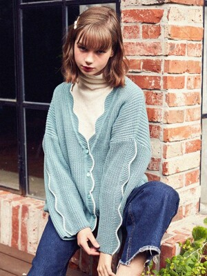 Wave Knit Cardigan (Dark Apple)