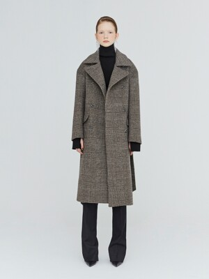 19FW OVERSIZED CHECK DOUBLE-FACED WOOL COAT - DARK BROWN CHECK