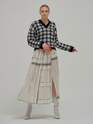 NOVEL EENK Printed Pleats Skirt