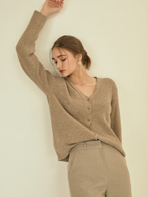 Slim v-neck golgi knit cardigan[beige]