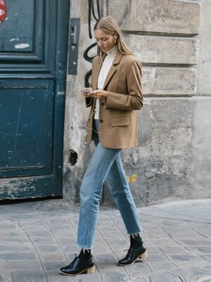 LA MADELEINE detachable vest and Blazer_Camel