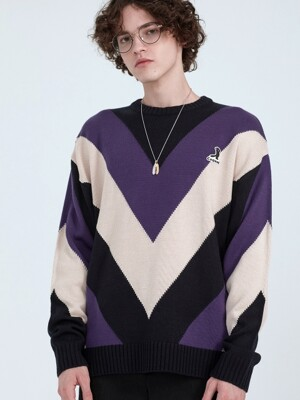 7G INTARSIA KNITTING LESSER LOGO SWEATER PURPLE