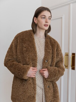 OVERFIT FUR JACKET_BROWN